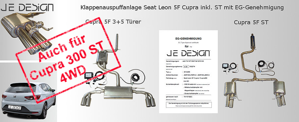 Exhaust flap system Seat Leon 5F Cupra 3-5 doors incl.  ST 4WD